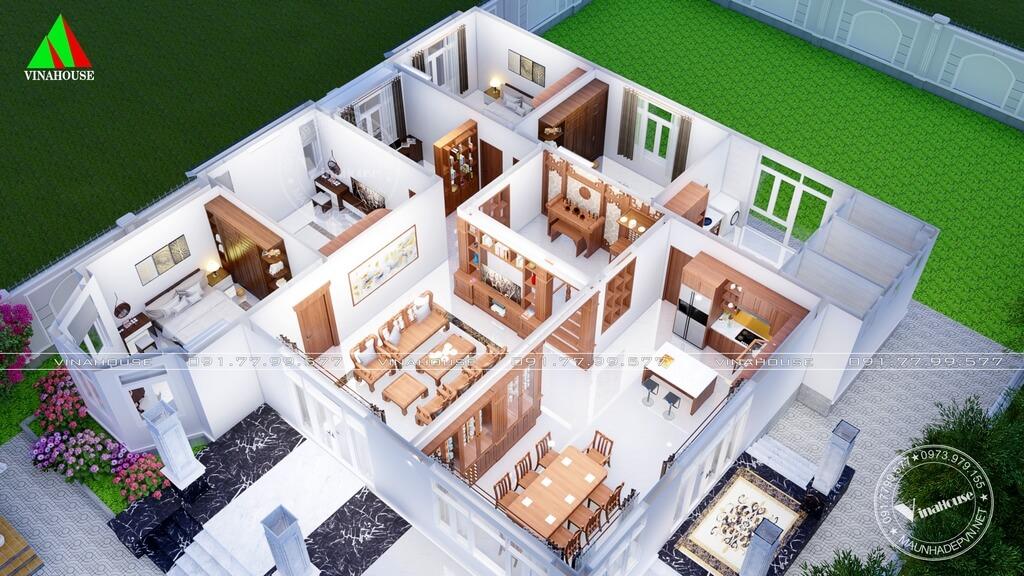 Mặt bằng nội thất 3D nhà vườn 4 phòng ngủ