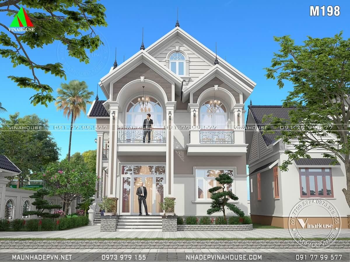 Mặt tiền biệt thự 2 tầng mái thái đẹp