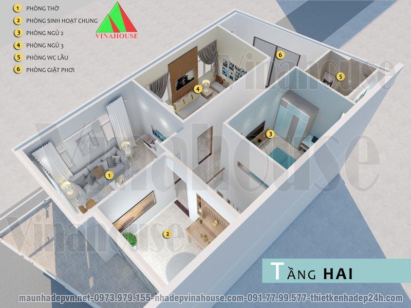 hình ảnh 3D mặt bằng bố trí tầng 2