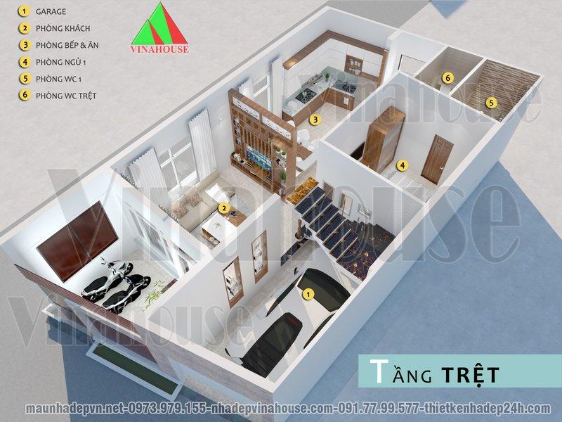 3D mặt bằng bố trí nội thất tầng trệt