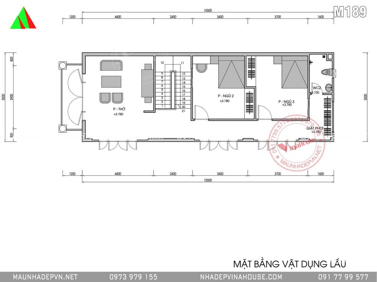 Bản vẽ mặt bằng tầng hai nhà 2 tầng 3 phòng ngủ