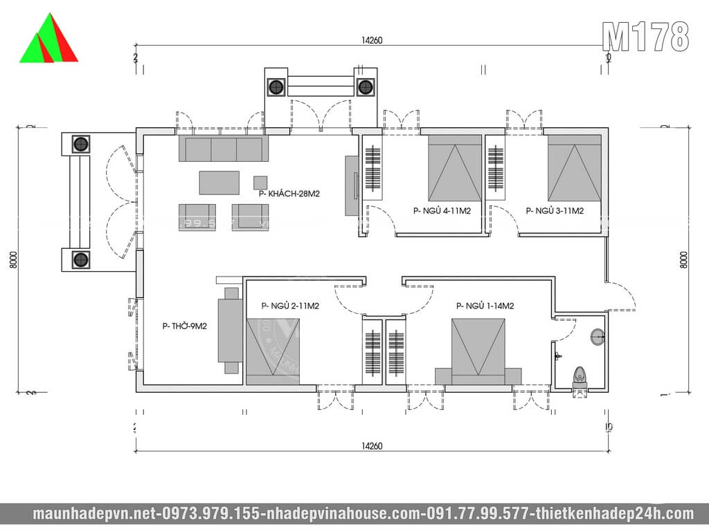 Mặt bằng nhà cấp 4 có 4 phòng ngủ 8x14