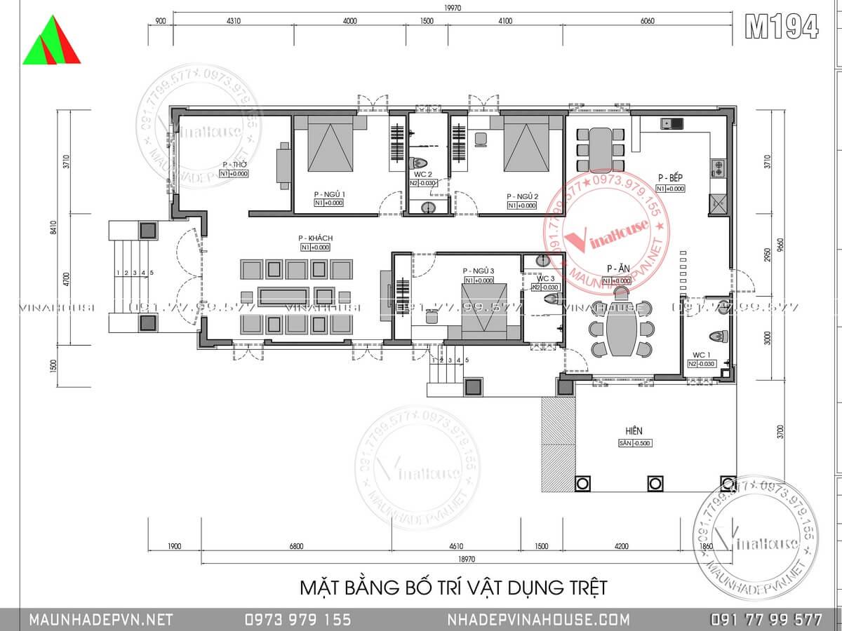 Bản vẽ mặt bằng biệt thự vườn 1 tầng mái thái 3 phòng ngủ