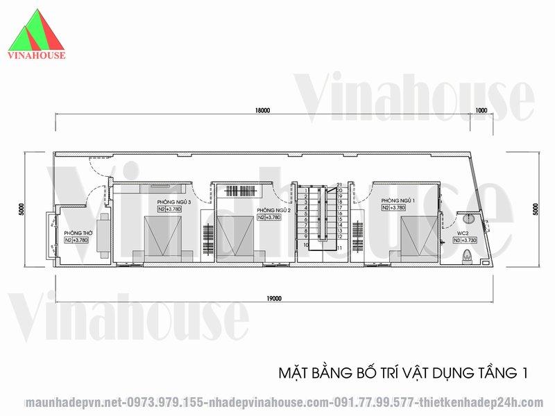 Bản vẽ mặt bằng tầng lầu nhà 2 tầng 5x19 có 3 phòng ngủ