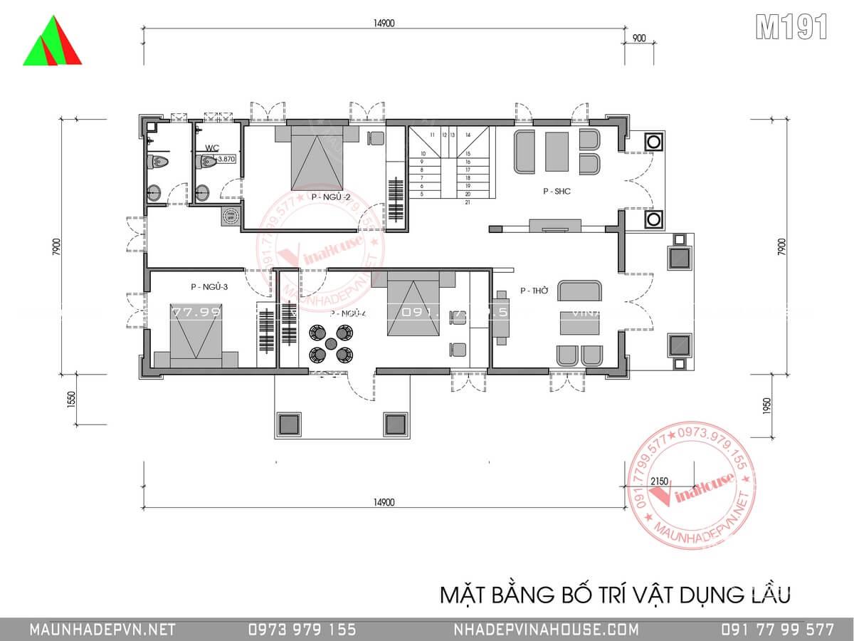 Bản vẽ mặt bằng tầng lầu biệt thự 2 tầng 8x15