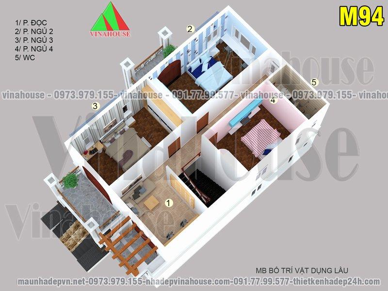 Bản vẽ mặt bằng bố trí 3D tầng 2