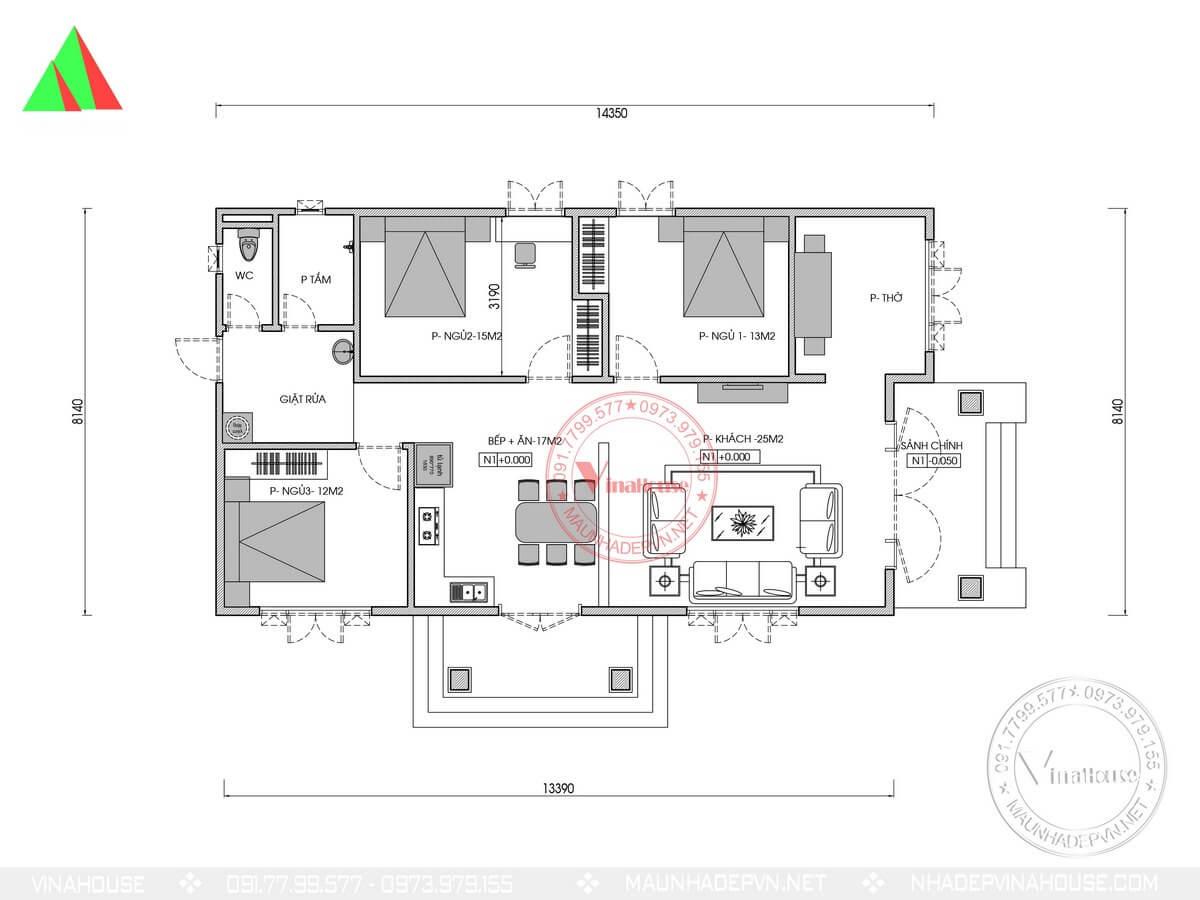 Bản vẽ mặt bằng bố trí nhà cấp 4 3 phòng ngủ 8x14