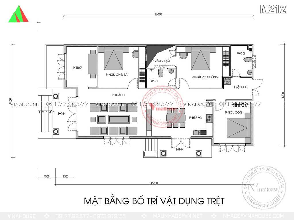Bản vẽ mặt bằng bố trí nhà cấp 4 có 3 phòng ngủ