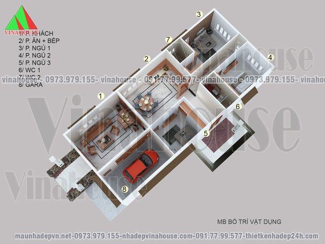 ban ve mat bang nha cap 4 - Nhà cấp 4 mái thái 3 phòng ngủ 8×20 có gara 8,5×20m kinh phí 1.2 tỷ