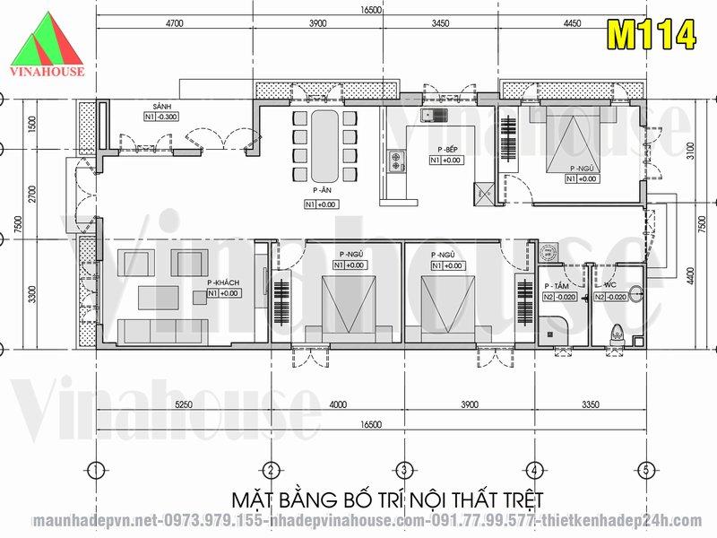 Bản vẽ mặt bằng nhà cấp 4 có 3 phòng ngủ 7,5x16,5