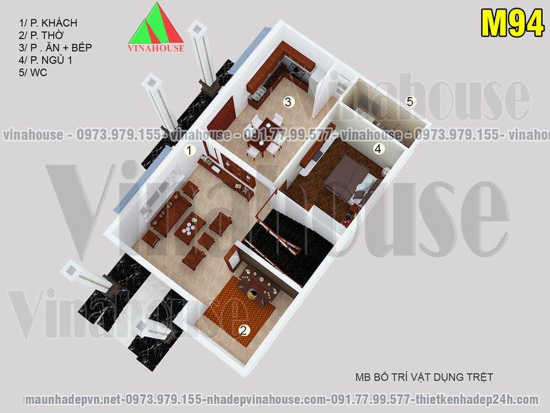Bản vẽ mặt bằng tầng trệt biệt thự 2 tầng 8x13