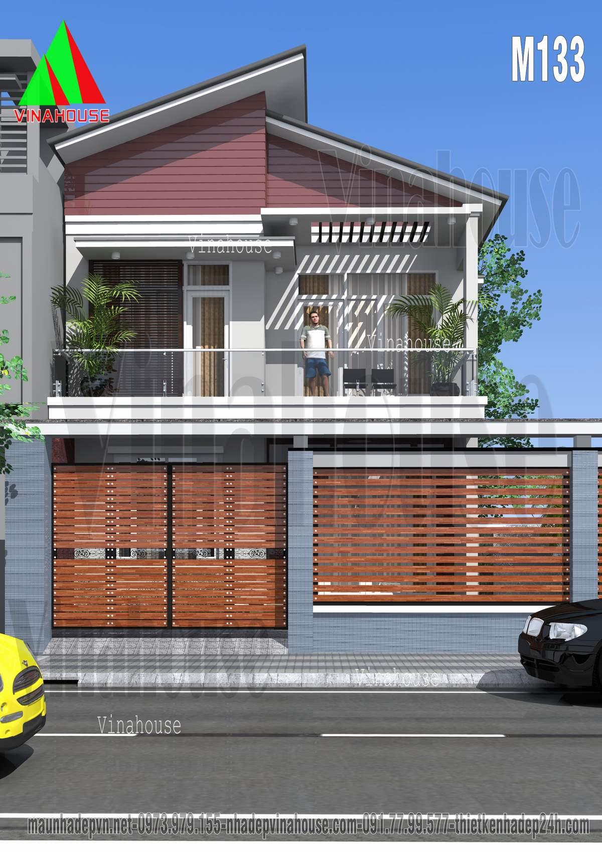 Mặt tiền nhà 2 tầng mái lệch hiện đại