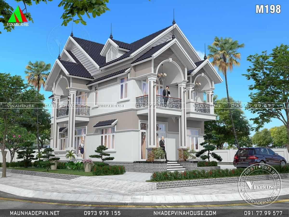 Thiết kế biệt thự 2 tầng mái thái 8x14,3 ở đồng nai