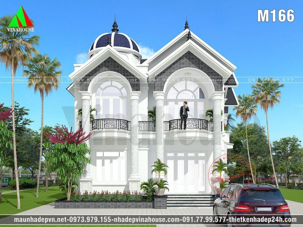 Mẫu biệt thự đẹp 2 tầng 10x18 được thiết kế cho gia đình cô Hiền trên khu đất vườn rộng ở Bình Dương. Biệt thự đẹp kiến trúc mái thái có chóp vòm trang trí dạng lâu đài kết hợp tường sơn tông màu trắng, điểm nhấn màu nâu đen cho biệt thự thêm sang trọng. Công năng sử dụng bên trong được bố trí theo yêu cầu gia đình nhằm thỏa mãn nhu cầu sinh hoạt của các thành viên mời các gia đình tham khảo.