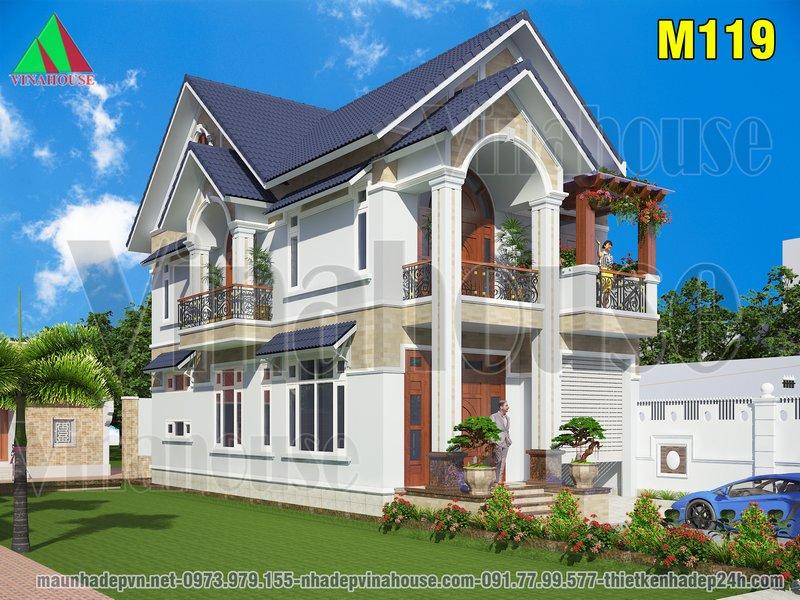 Biệt thự 2 tầng mái thái đẹp 7x14 anh Long ở Nghệ An