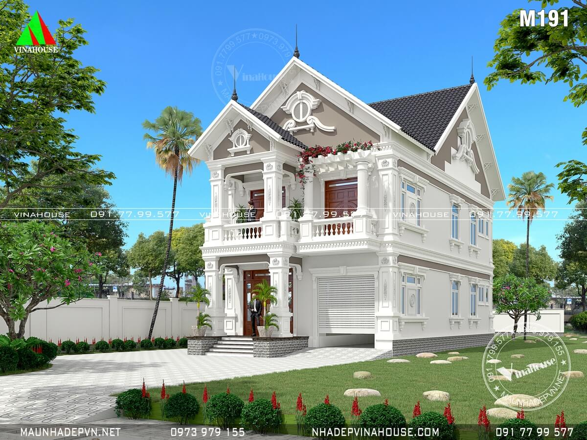 Thiết kế biệt thự đẹp 2 tầng cổ điển ở Bình Thuận
