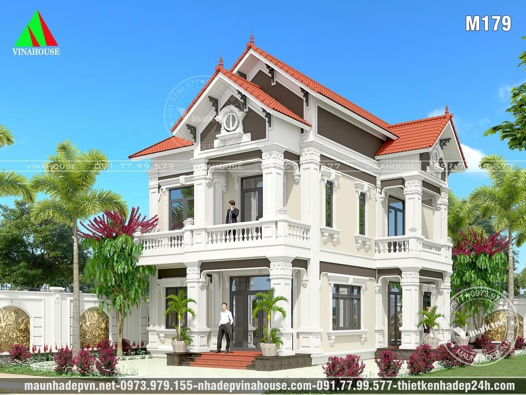 Thiết kế biệt thự 2 tầng mái thái cổ điển ở Biên Hòa