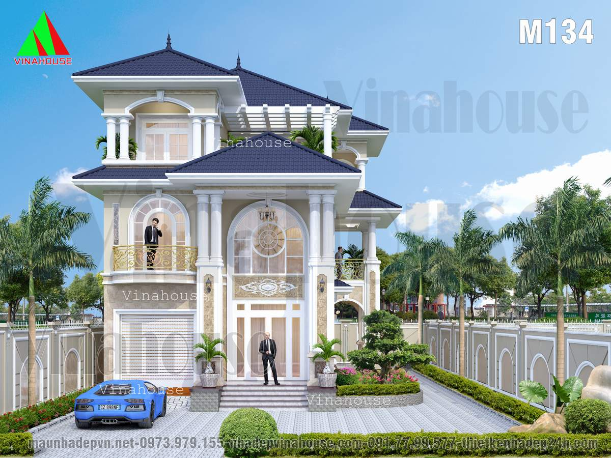 Biệt thự đẹp 3 tầng đẳng cấp phong cách châu âu tân cổ điển