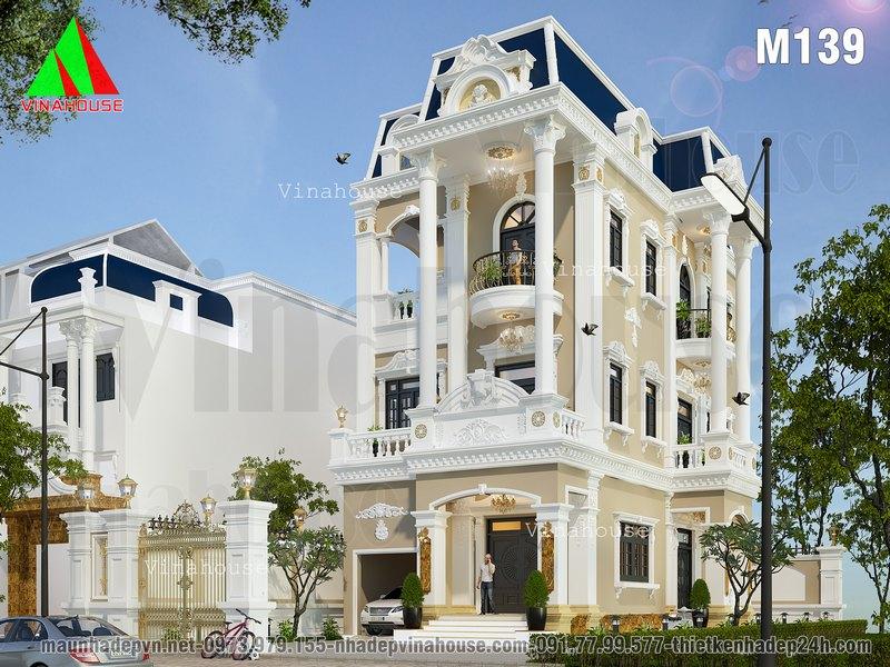 Biệt thự cổ điển 3 tầng kiểu pháp đẹp ở Kiên Giang