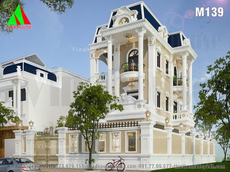Biệt thự đẹp 3 tầng cổ điển kiểu pháp M139