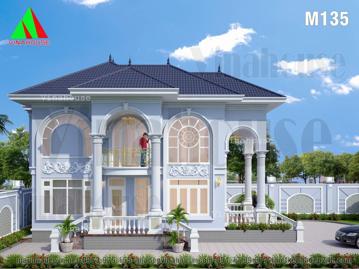 Thiết kế biệt thự đẹp châu âu 2 tầng