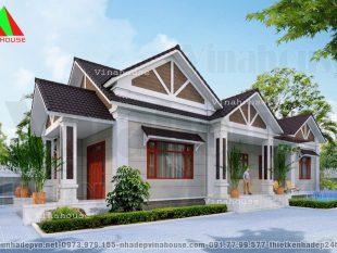 Mẫu thiết kế biệt thự vườn 1 tầng 4 phòng ngủ được thiết kế cho anh Tùng ở  Vĩnh Cửu Đồng Nai trên khu đất 18×30.