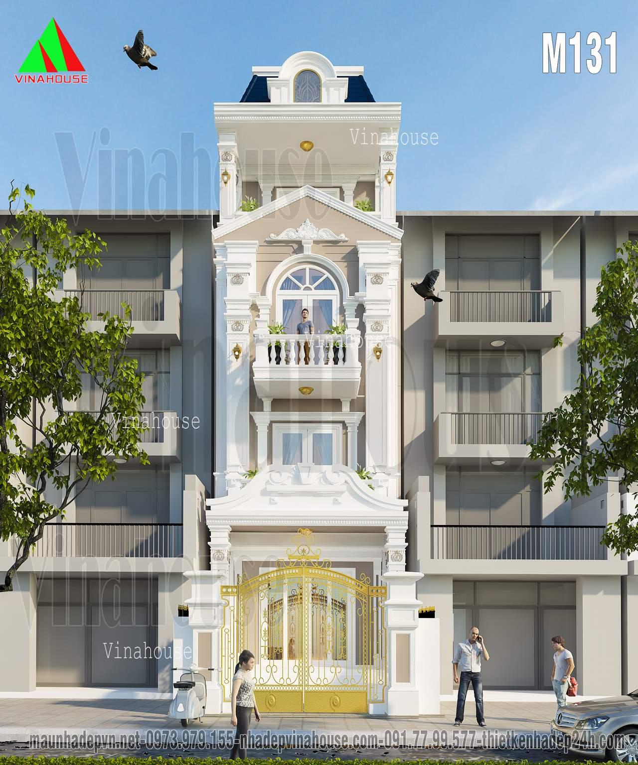 Nhà phố cổ điển đẹp 4 tầng 6x12