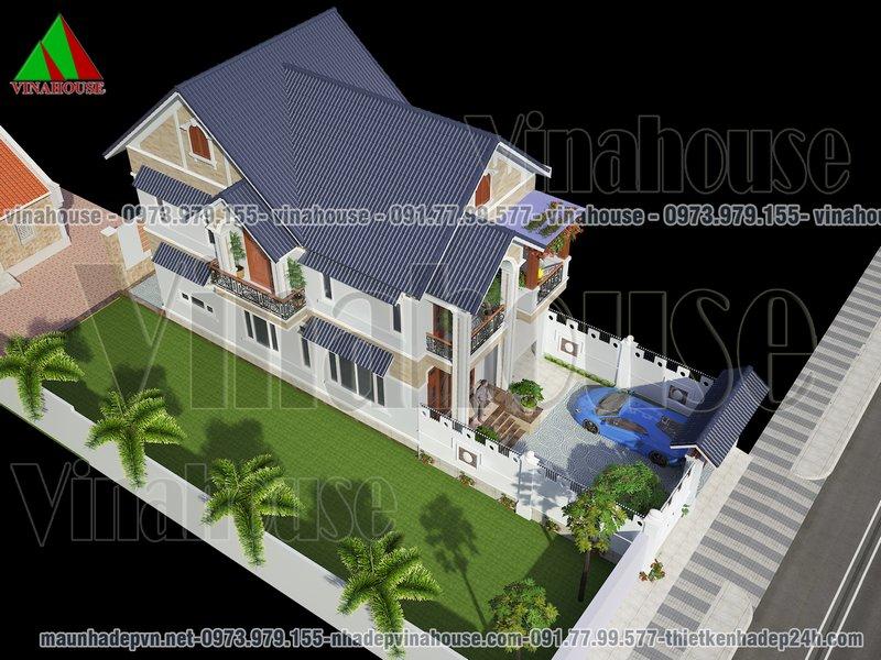 Tổng thể biệt thự nhà vườn mái thái 7x14