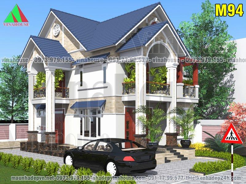 Mẫu Biệt thự 2 tầng mái thái đẹp có 4 phòng ngủ 8x13