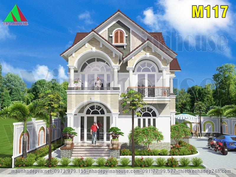 Mẫu biệt thự đẹp 2 tầng mái thái 9x13