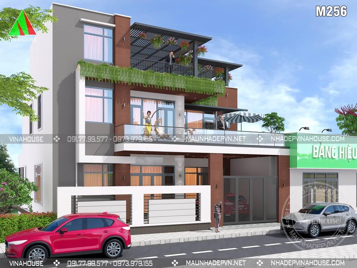 Thiết kế biệt thự hiện đại đẹp M256