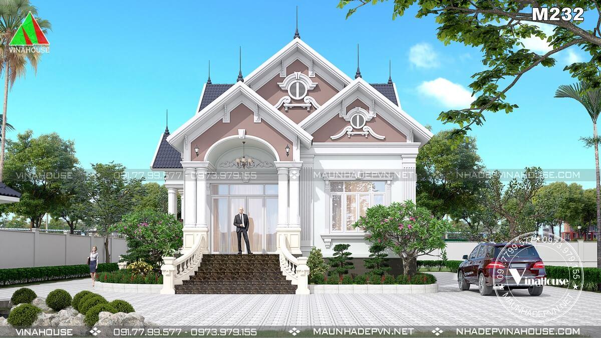 Thiết kế biệt thự vườn 1 tầng mái thái tân cổ điển 3 phòng ngủ ở Đồng Nai M232