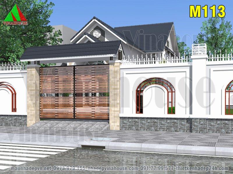 Cổng chính tường rào nhà biệt thự mái thái có gác lửng