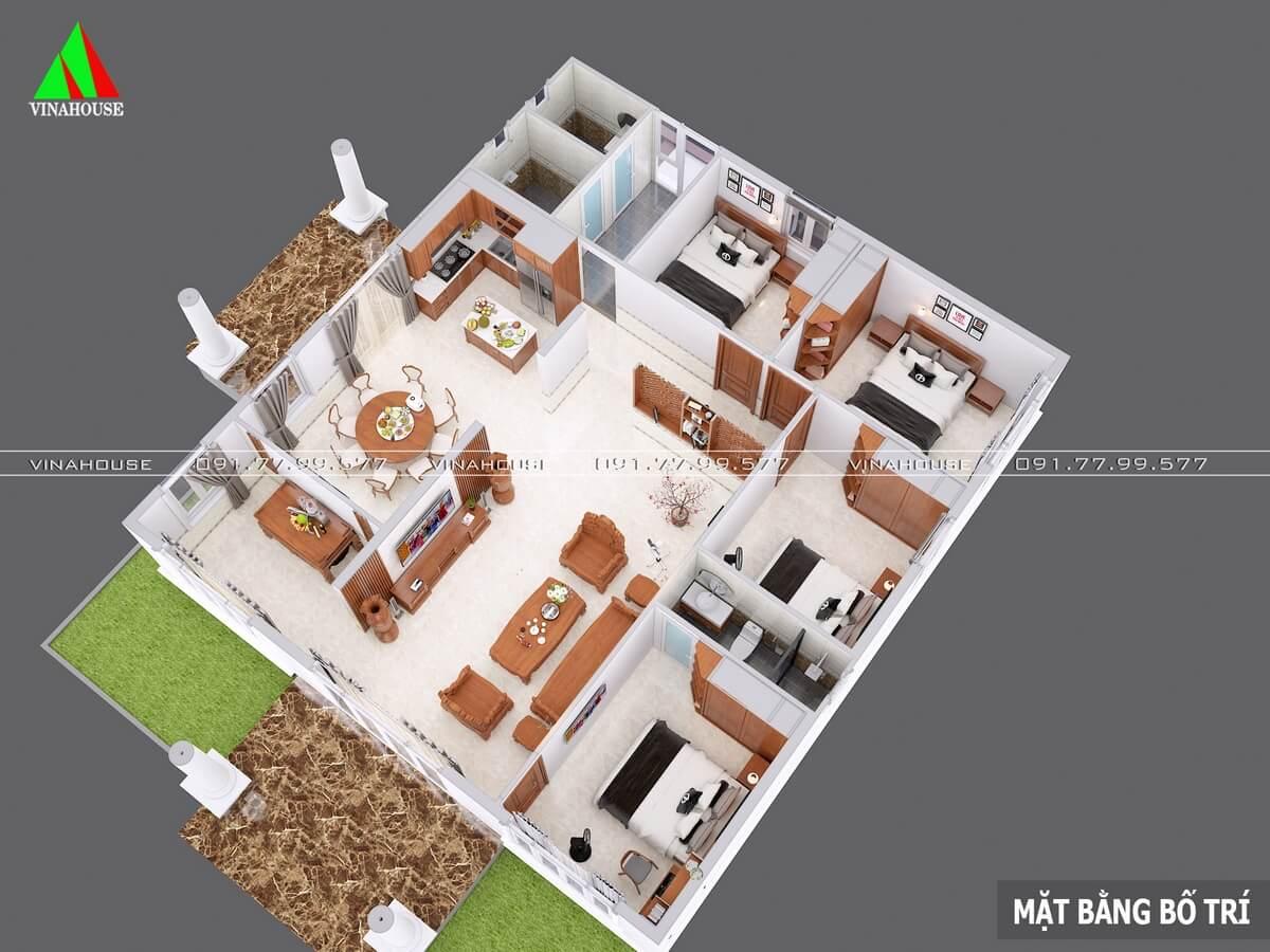 Bản vẽ 3D mặt bằng nhà vườn cấp 4 12x13