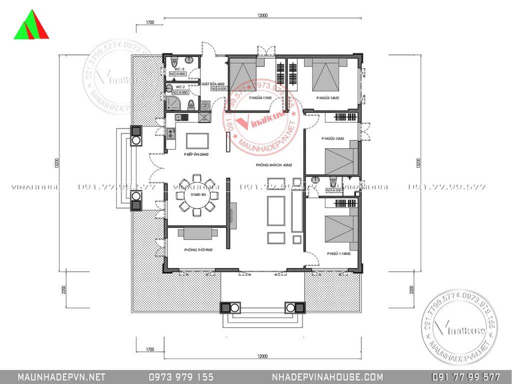 mặt bằng bố trí nhà vườn 4 phòng ngủ 12x13