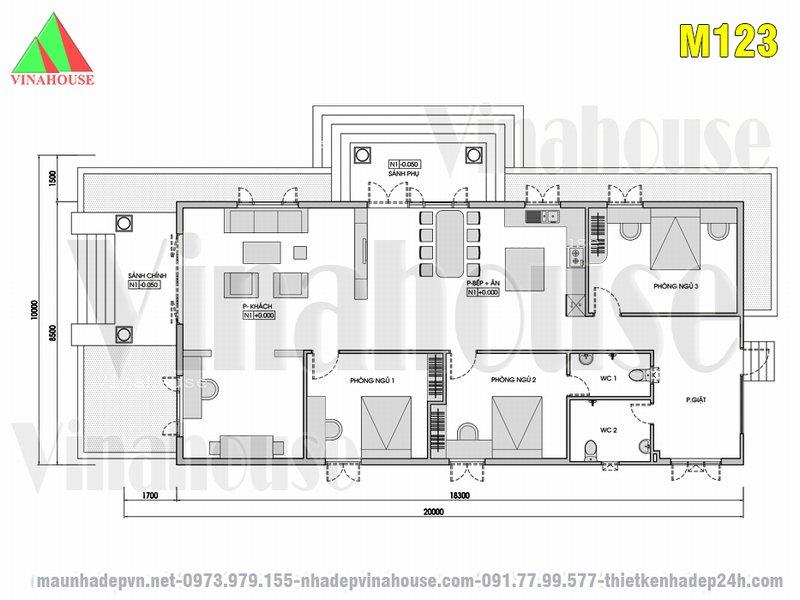 Mặt bằng bố trí nhà cấp 4 có 3 phòng ngủ 10x20