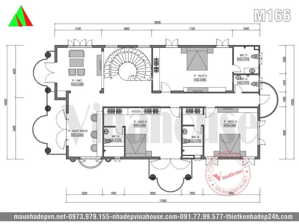 Công năng tầng lầu: Phòng sinh hoạt chung + phòng đọc sách + 3 phòng ngủ khép kín + 1 nhà vệ sinh chung.