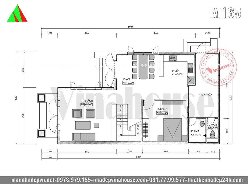 Tầng trệt từ sảnh chính đi vào là phòng khách, phòng khách thoáng với cửa sổ lớn 4 cánh nhìn qua hành lang chữ L. Từ hành lang đi vào sảnh phụ là khu bếp ăn rộng rãi với quầy bếp thiết kế dạng Bar. Sau cầu thang là 1 phòng ngủ, cuối góc nhà là 1 nhà tắm 1 nhà vệ sinh riêng biệt, sau bếp ăn là khu giặt rửa rộng rãi.