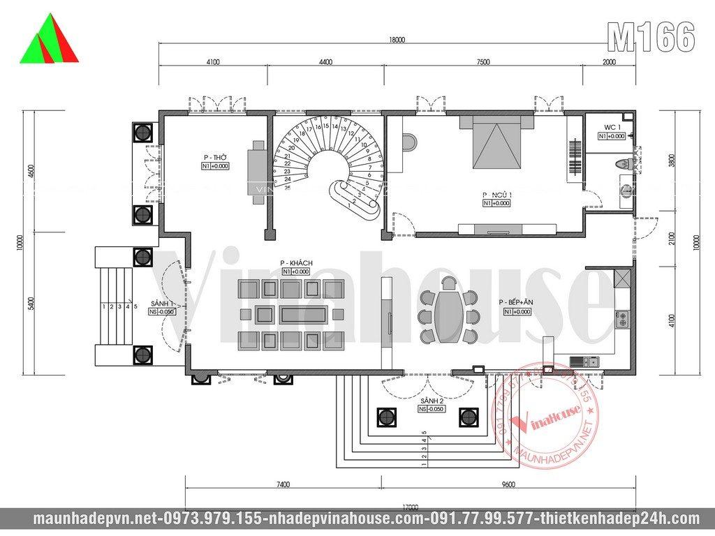 Công năng sử dụng tầng trệt: phòng khách + phòng bếp ăn + phòng thờ + 1 phòng ngủ khép kín ( Bên sau gia đình sẽ làm khu giặt phơi và nhà vệ sinh chung)