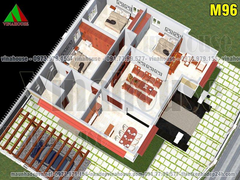 Mặt bằng bố trí nhà cấp 4 có 3 phòng ngủ