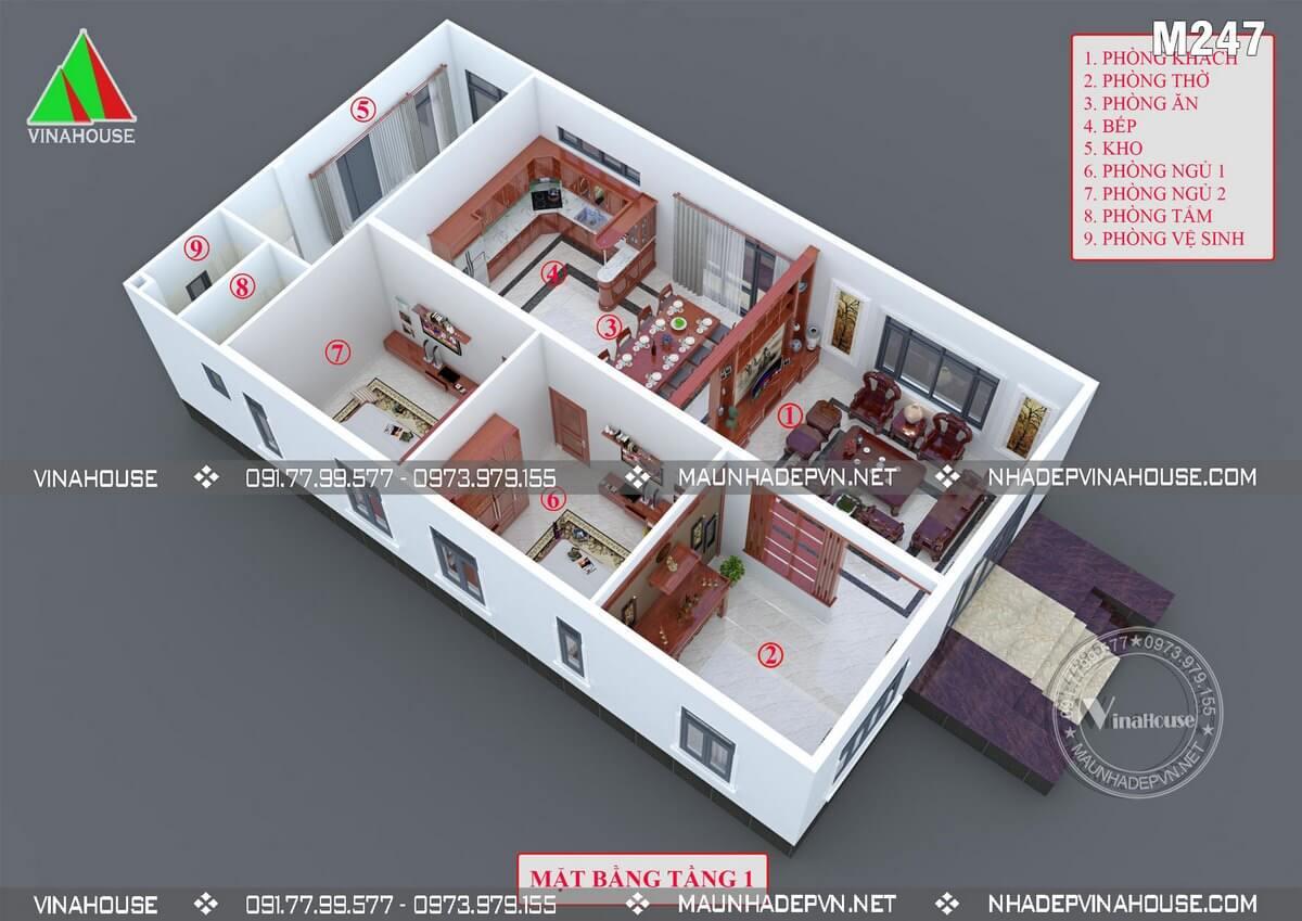 Thiết kế nhà cấp 4 2 phòng ngủ hiện đại tại Bình Dương M247
