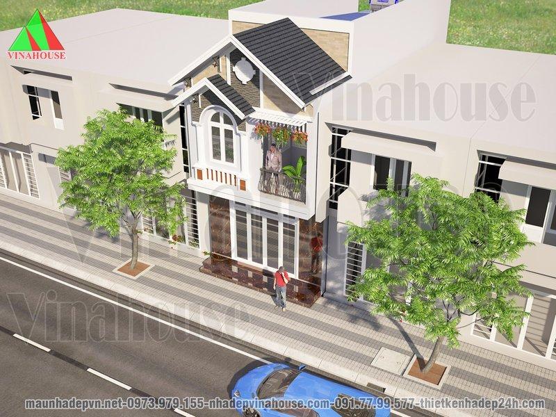 Nhà 2 tầng đẹp mặt tiền mái thái phía sau lợp tôn tiết kiệm chi phí