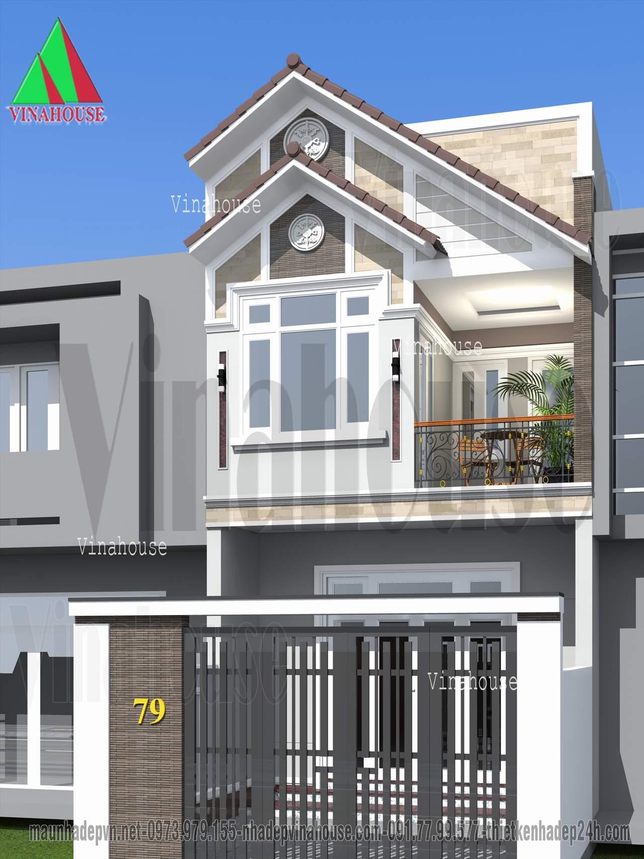 Mẫu nhà 2 tầng mặt tiền mái thái phía sau lợp tôn tiếm kiệm chi phí