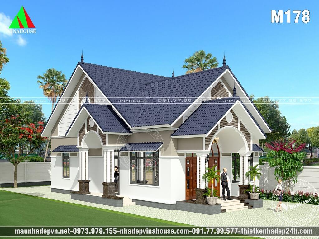Phương án thiết kế ban đầu: mái ngói xanh, cửa vòm hiện đại