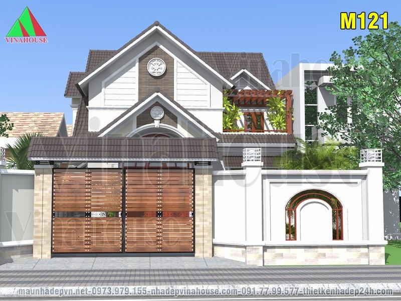 Mặt tiền cổng chính biệt thự mini mái thái có gác lửng