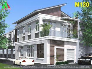nhà mái lệch 2 tầng 2 mặt tiền 7,5x13