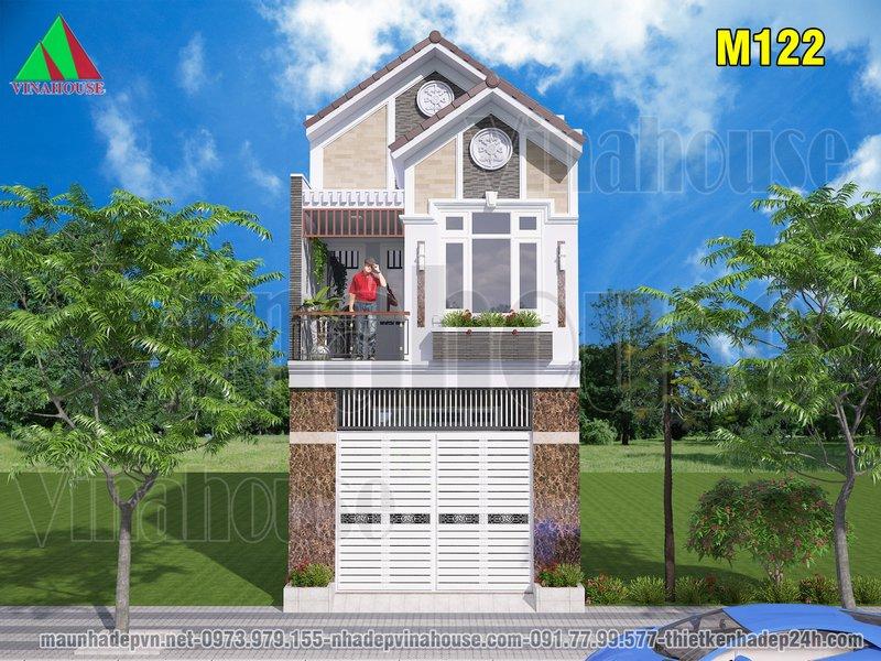 mẫu nhà phố đẹp 2 tầng 5x19 mái thái 3 phòng ngủ có gara ở Biên Hòa