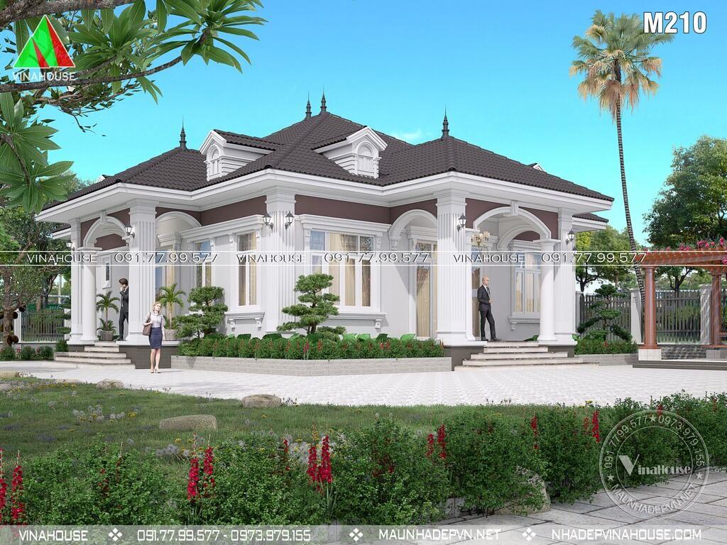 Nhà vườn 1 tầng tân cổ điển 4 phòng ngủ M201