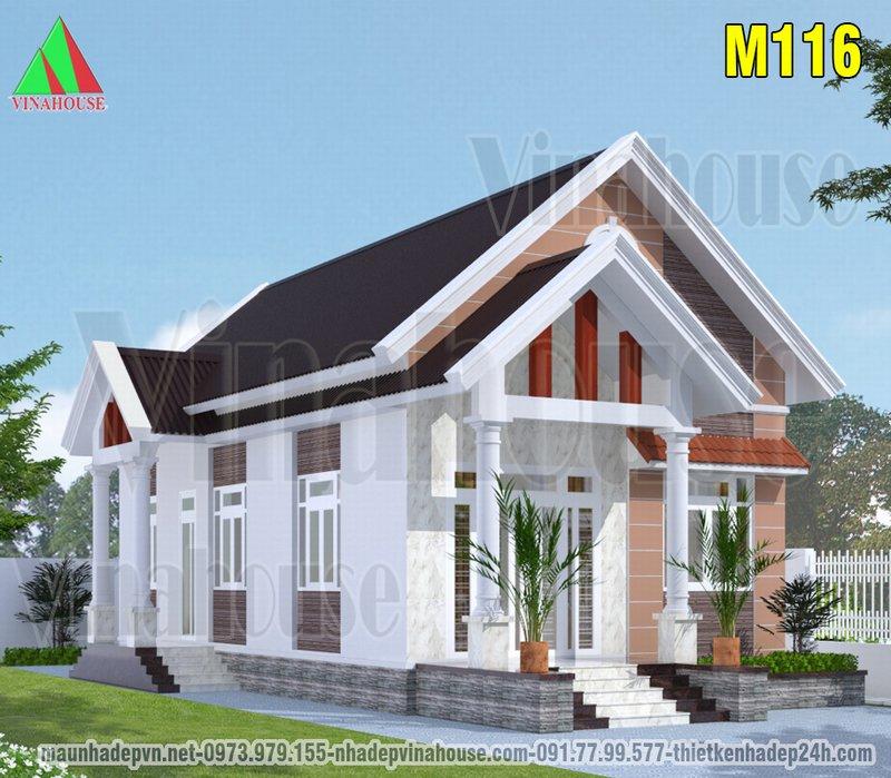 Mẫu nhà cấp 4 đẹp mái thái 2 phòng ngủ 90m2 ở Ninh Thuận