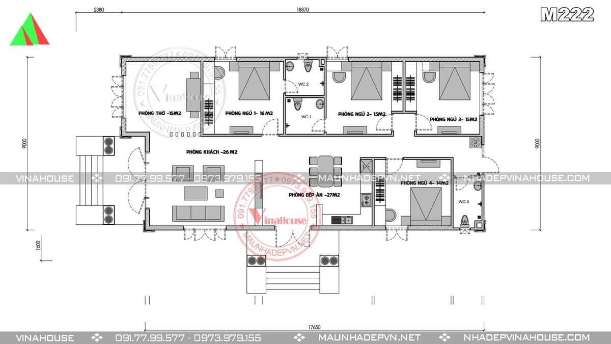 Bản vẽ mặt bằng bố trí nhà cấp 4 có 4 phòng ngủ 9×20